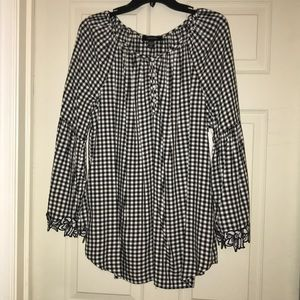 NWT Karen Kane gingham tunic w/bell sleeves
